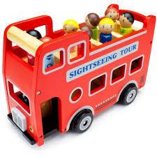 T5444: Wooden Wheels Double Decker Bus