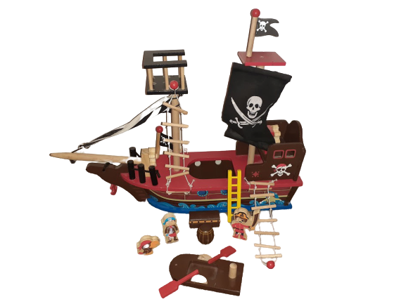 S5477: Wooden Pirate Ship with Accessories