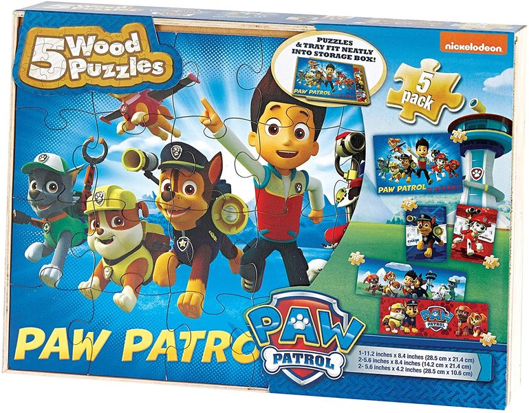 T8214: Paw Patrol Wooden Puzzle 5 Pack
