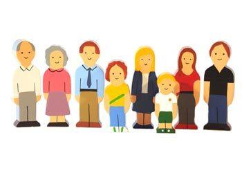 K515178: Wooden Family Set - Caucasian