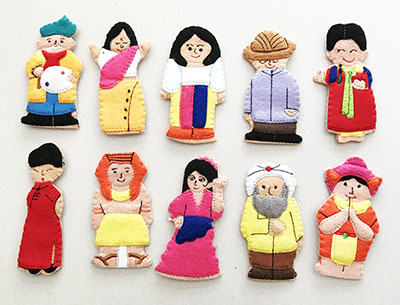 K525170: People Of The World Finger Puppets (Set 2)