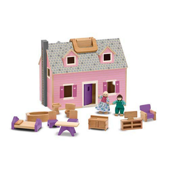 K5188: Fold and Go Pink Wooden Dollhouse