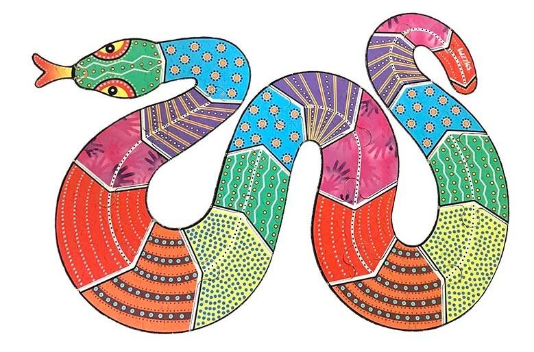 K831060: Aboriginal Snake Floor Puzzle