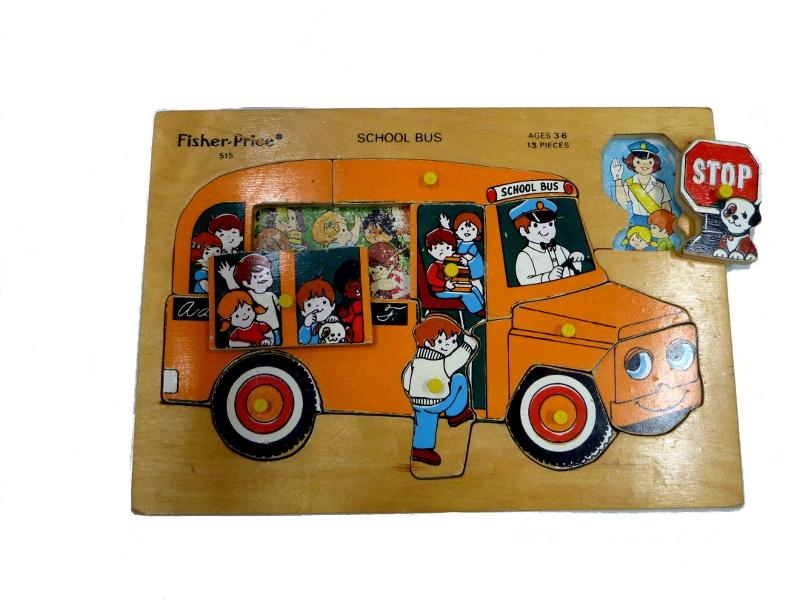 J829: Fisher Price School Bus inset puzzle