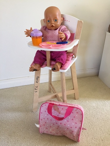 K164: WOODEN HIGH CHAIR AND DOLL SET
