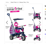 70009: SmartTrike Groove Pink and Navy 4 in 1 GOLD STAR