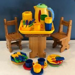 L96: Dolls Table and Chairs + tea set