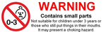 Warning small parts single  sticker