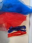 A121: Blue/Red Scarf & Ribbon Set